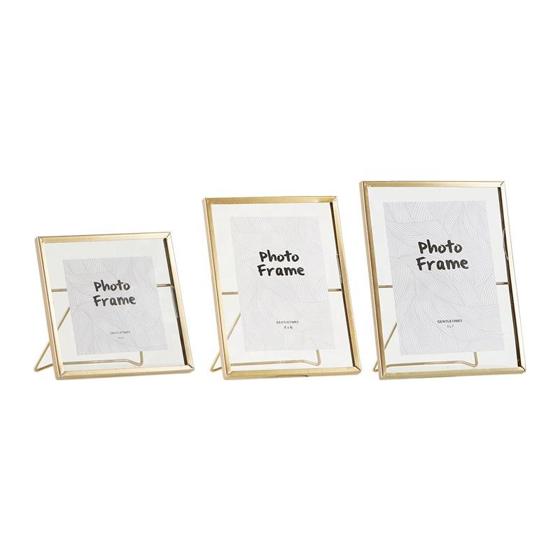 Gold Metal Lining Photo Frames Modern Concise 4in 6in 7in photos use glass Frames Metal Art Picture Photo Frames