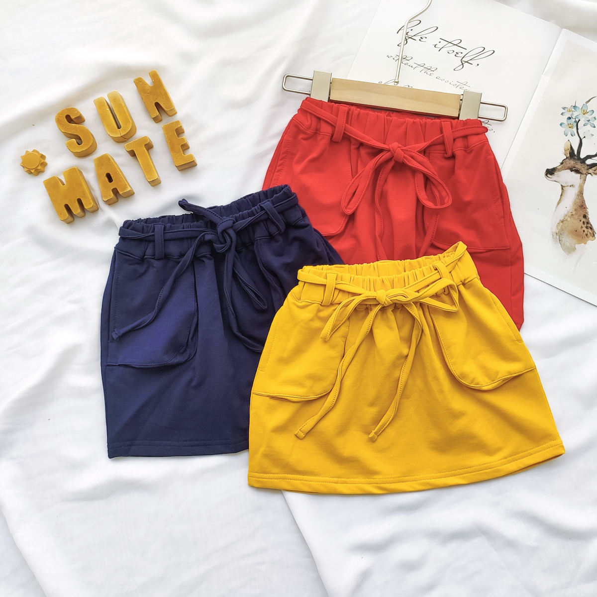 Girls' Skirts 2-6 Years Wholesale RTS Children Solid Color Cotton Skirt Kids Fashion Mini Skirts For Kids Girls