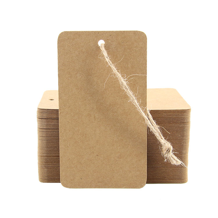 Eco-friendly recycle customized brown kraft paper hang tags for clothing and packaging