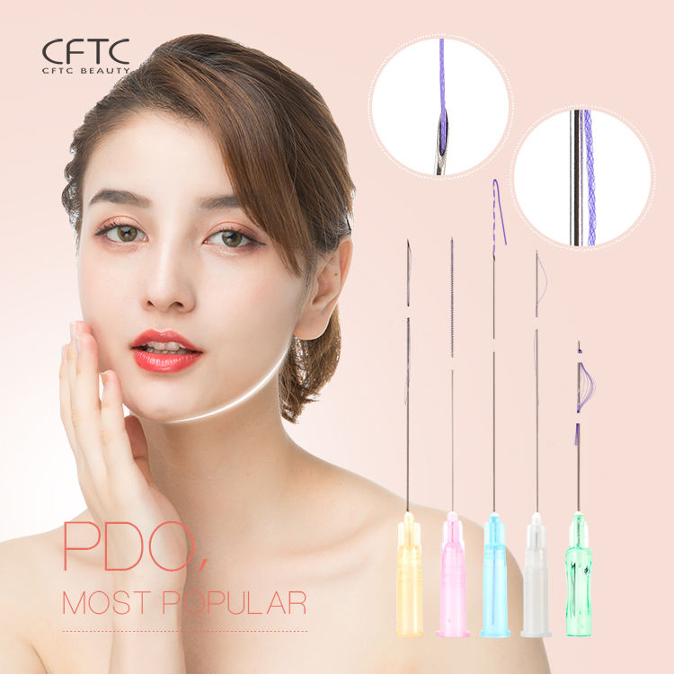 Korea Absorbable Pdo Thread lift hilos tensores para el rostro v line Face Lifting Double needle 4D Cog Pdo thread