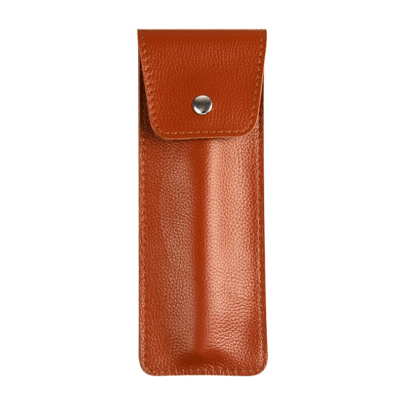 Wholesale pocket travel pen display case custom genuine leather pen case holder for pens
