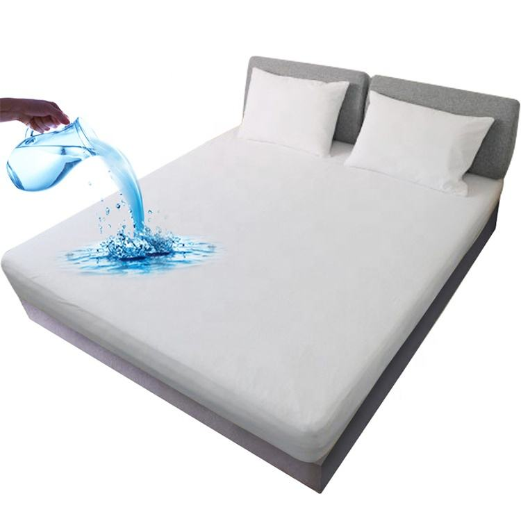 Breathable Queen size bed bug proof hotel hypoallergenic cotton terry fabric waterproof mattress protector waterproof