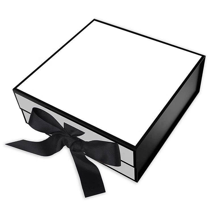 High Quality Custom Logo Gift Packaging Black Rigid Paper Cardboard Gift Box With Ribbon Closure