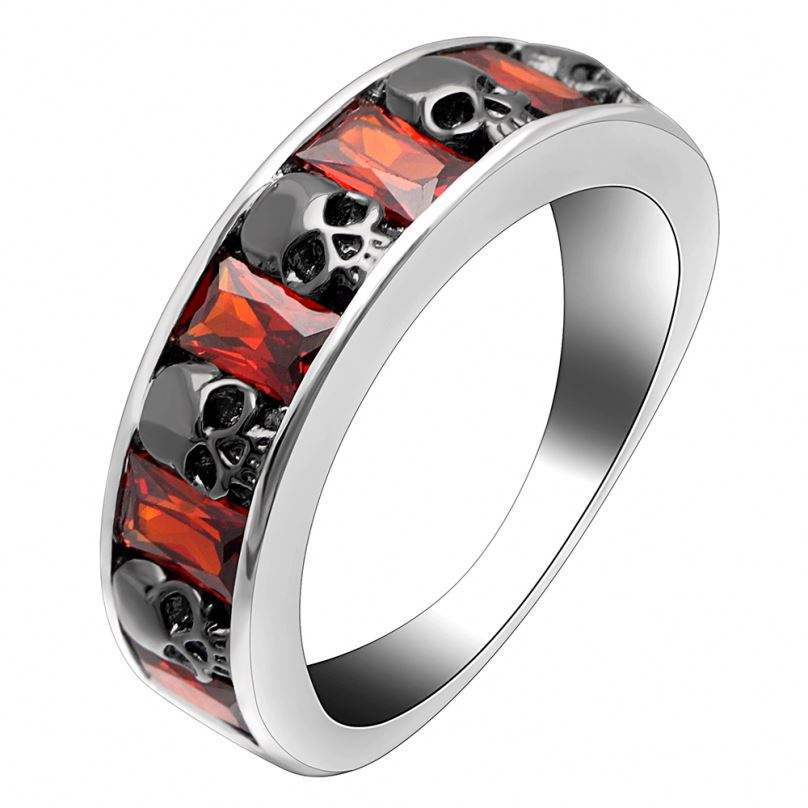 Factory Cheap Skull Rings Men Fine Jewelry Red Zircon Elegant For Women Wholesale