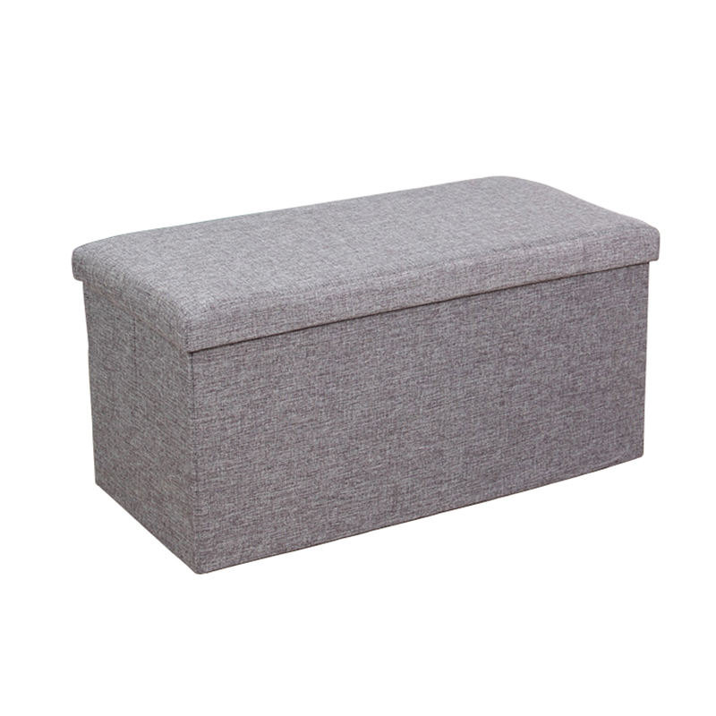 Fabric Household Ottoman Bench Large Capacity Padded Seat Foldable Stool Storage Ottoman Collapsible Storage Stool