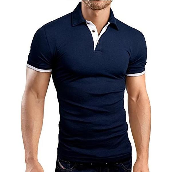 Summer Mens Short Sleeve Casual Polo Shirt Slim Basic Tee Solid Color T-shirt