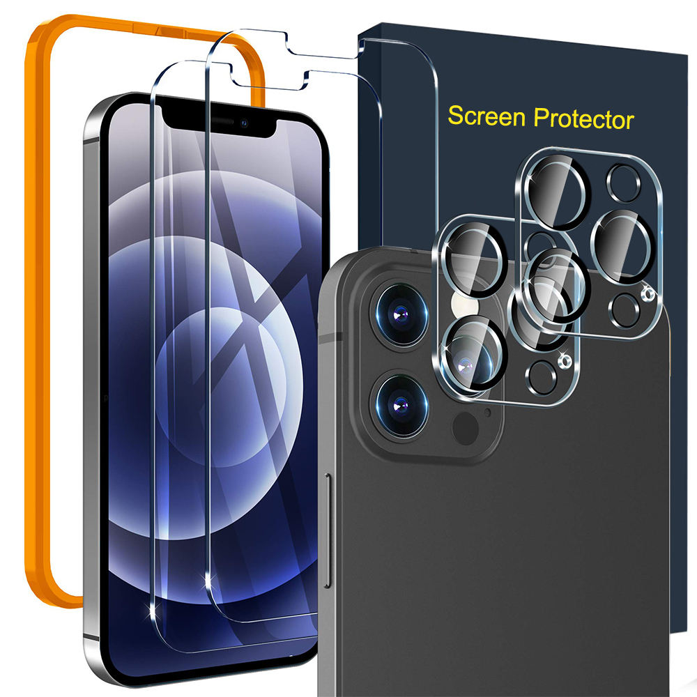 Screen Protector Compatible with iPhone 12 2 Pack Tempered Glass + 2 Pack Camera Lens Protector With Easy Installation HD Clear