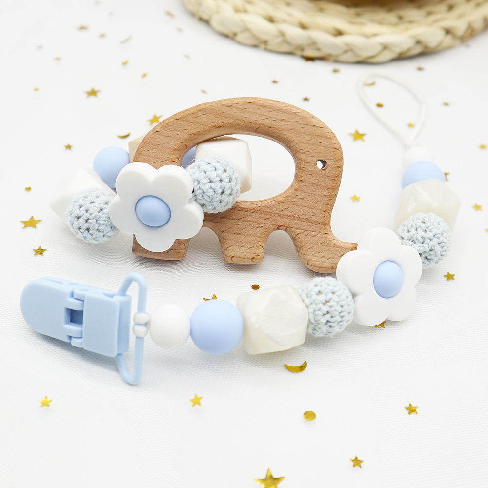 Wholesale Sensory Toys Chewing Silicone Rattle Baby Ring Crochet Beads Wooden Bracelet Teether