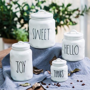 Bulk kitchen ware customized white cheap porcelain coffee bean biscuit cookie jar with lid