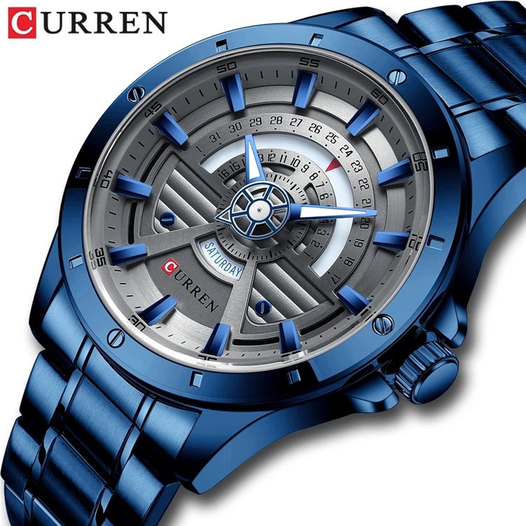 Watches Mens 2020 CURREN 8381 NEW Fashion Quartz stainless steel Watch Date and Week Clock Male Creative Wristwatch