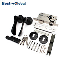 BestryGlobal Indoor Round Door Handle Black Lockset With Stainless Steel Lock Body And Brass Cylinder
