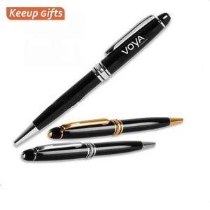 Executive Business Zwarte Pennen Promotionele Gepersonaliseerde Lasergravure Metalen Stylus Aangepaste Pen Balpen