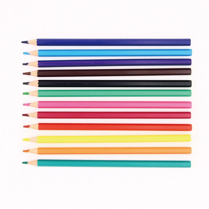 12 color customized plastic woodless color drawing pencil for school and artist