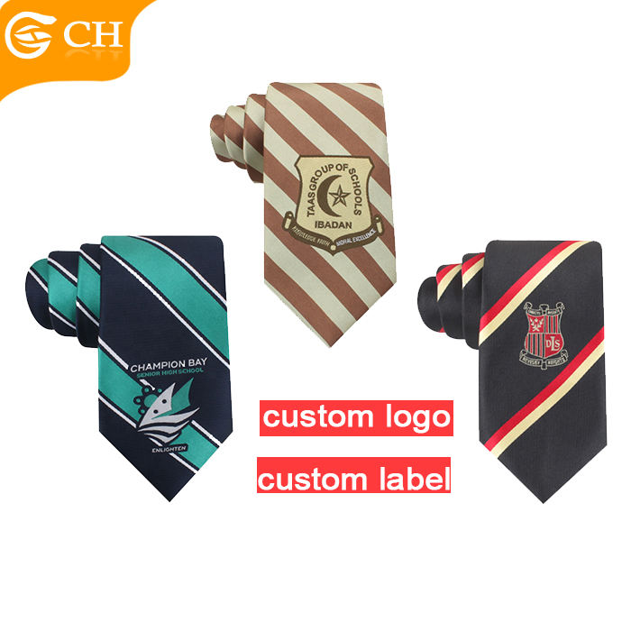 Quality School Striped Necktie Uniform Striped School Neck Tie Manufacturers Custom Logo Tie Neckties