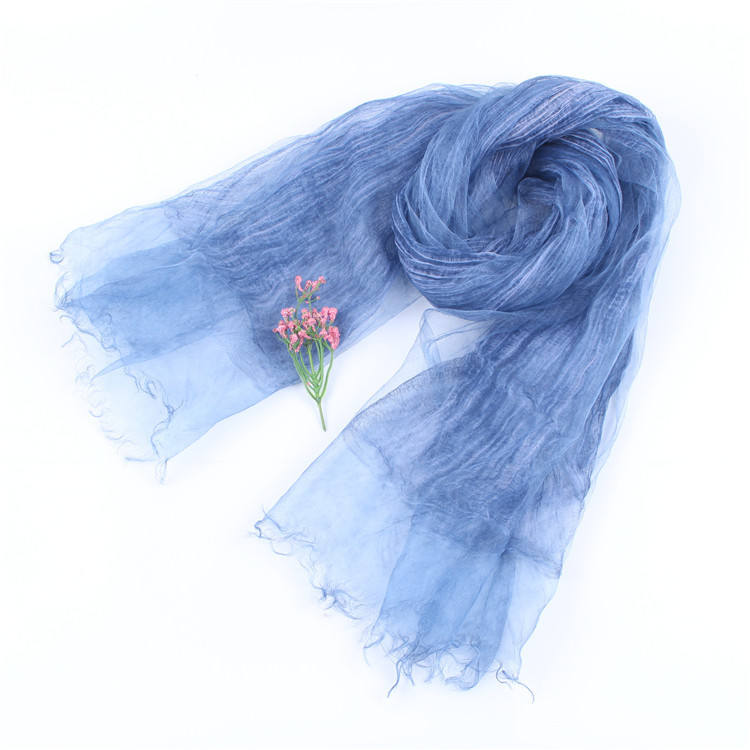 Spring Summer New Pleated Double-layer Organza Silk Cotton Linen Scarf Solid Color Shawl