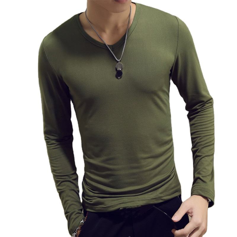 T-shirt Men Plain Bulk Slim Fitted High Quality Plain T-shirt Print Your Own Logo Brown Long Sleeve T Shirt Mens Undershirts Round_neck_t-shirt
