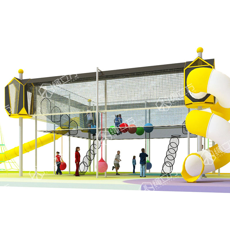 ROPECUBE rainbow rope nets playground children climbing rope net indoor trampoline park large trampolines with foam pit