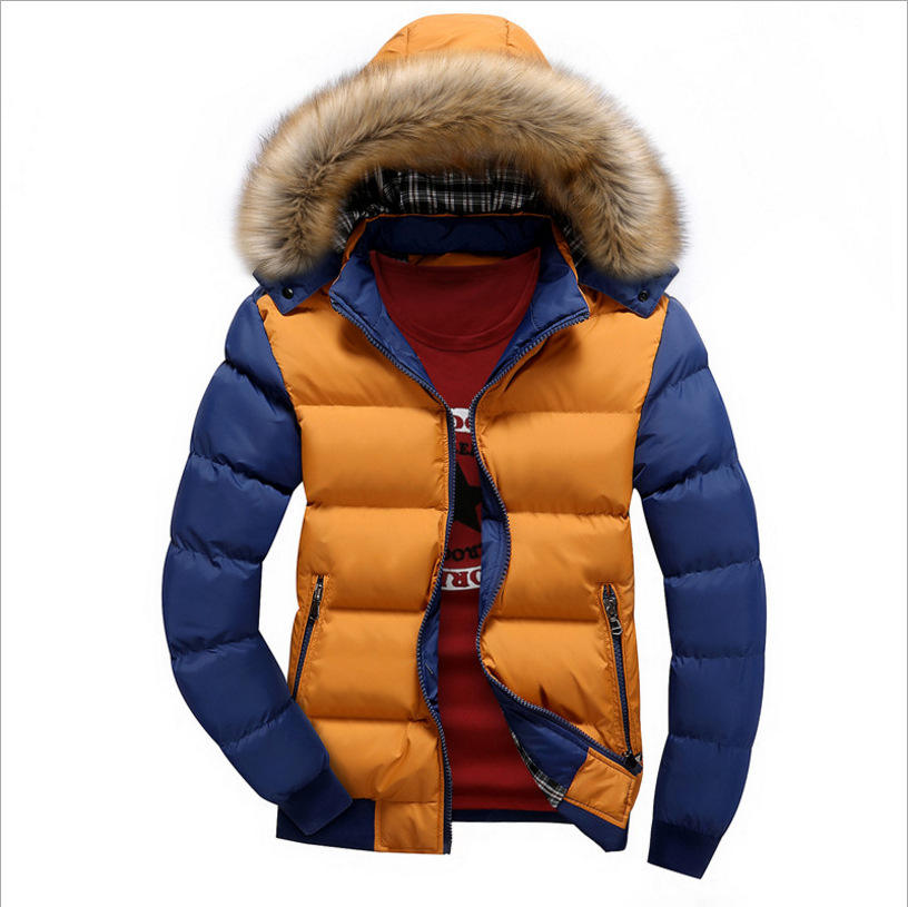 Winter Down Coat Men Casual Fur Hooded Cotton Padding Parka Mens Brand Patchwork Windbreaker Jackets