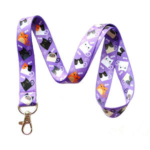 Dye Sublimation Printing Polyester Cartoon Animal Cat Lanyard For Kids