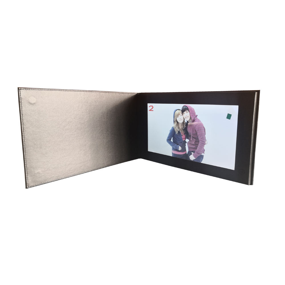 10.1inch High grade leather Folding video brochure in print technology video greeting cards for business advertising