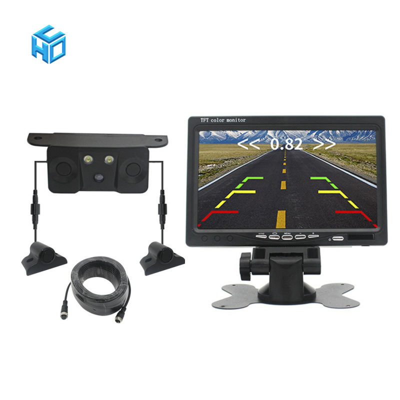 Truck Rearview Aid System with 7 Inch Monitor Camera 5 in 1 Bus Video Parking Sensor Radar System