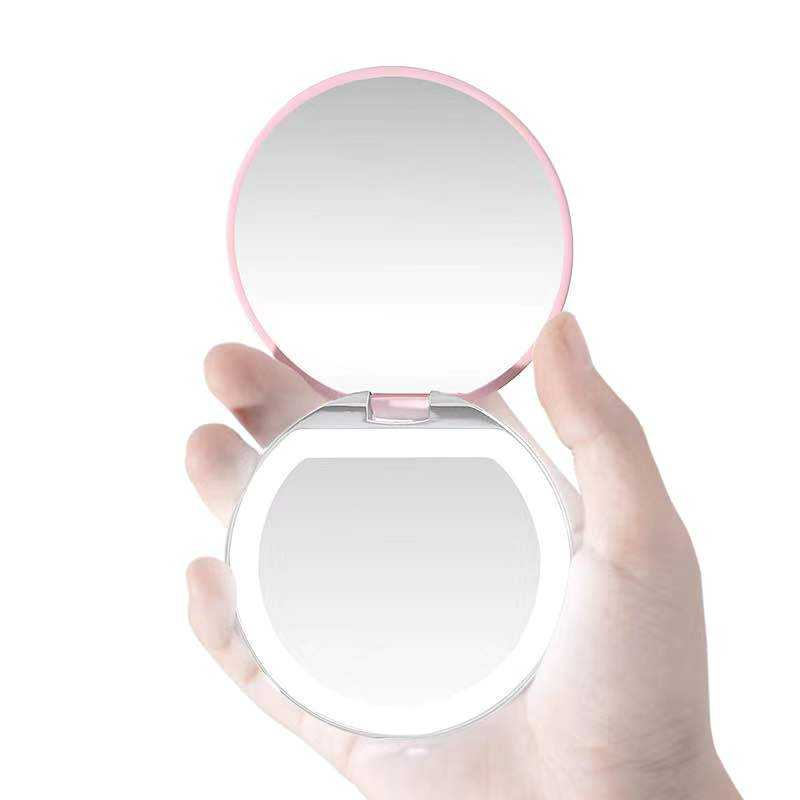 Amazon crazy hot selling Customizable Portable vanity mirror hand Pocket magic makeup Mirror with led light