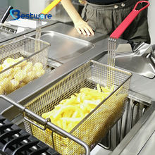 Perforated Strainer Kitchen Accessories Rectangle Wire Mesh Deep Fat Kitchen Stainless Steel Round Fryer Basket