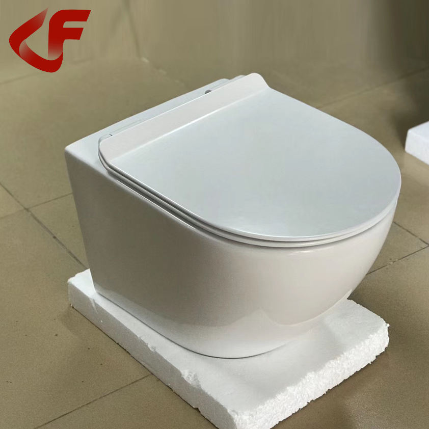 Bathroom WC ceramics CE certificate Rimless flushing wall mount porcelain toilet white