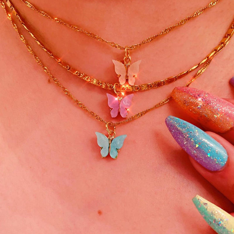 Ins Cute Sweet Acrylic Butterfly Necklace Colorful butterfly pendant necklace for women girls fashion party jewelry gifts