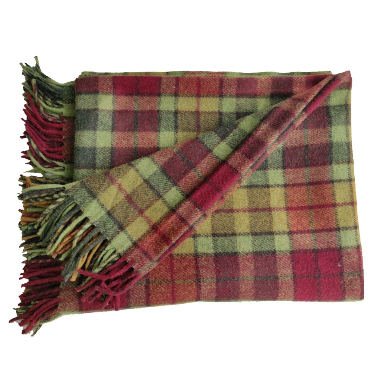 Autumn Buchanan luxury Tartan Recycled Lambs Wool Picnic Blankets OEM Factory Made