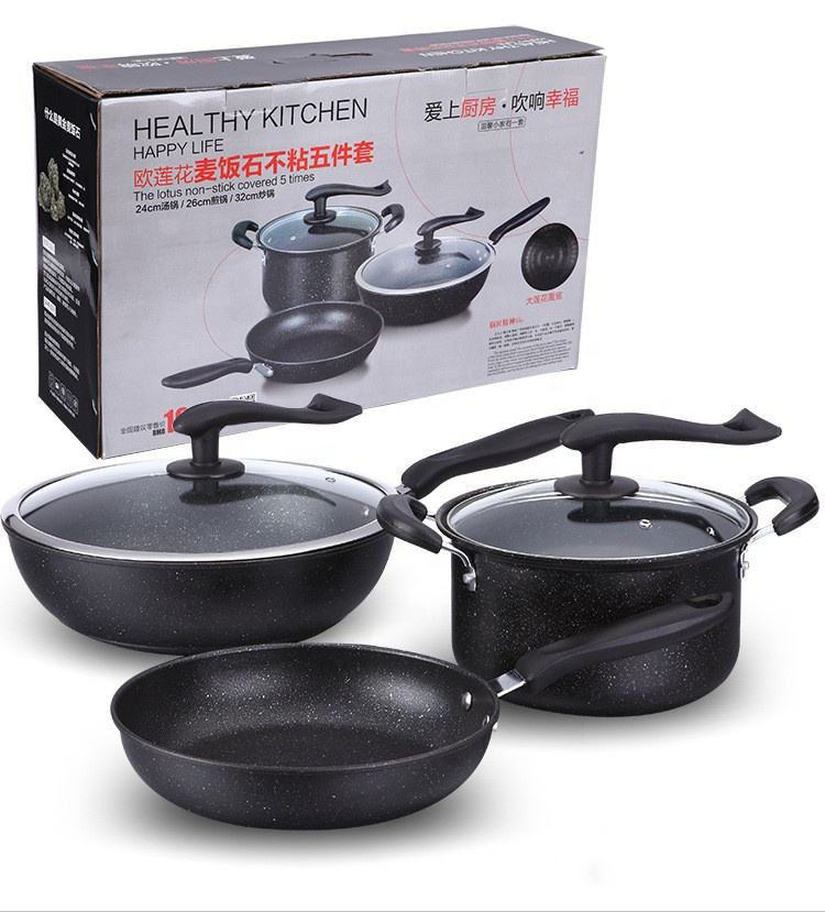 kitchen ware 3pcs granite iron cooking pots and pans cookware sets cooking