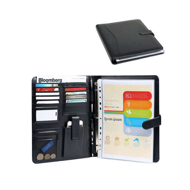 Leather Padfolio with Zippered Closure Portfolio Men's