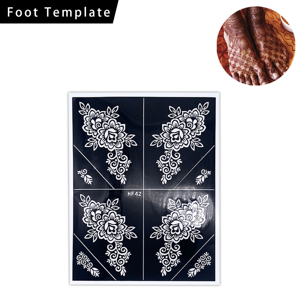 custom made mehndi stickers PVC henna tattoo sticker foot henna stencils sticker