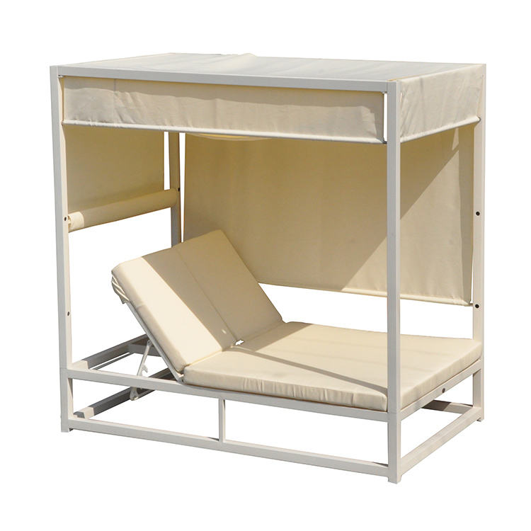 Beautiful Hotel Patio Furniture Leisure Waterproof Popular Garden Sun Bed Outdoor Aluminum Daybed Resort Villa Beach Bed