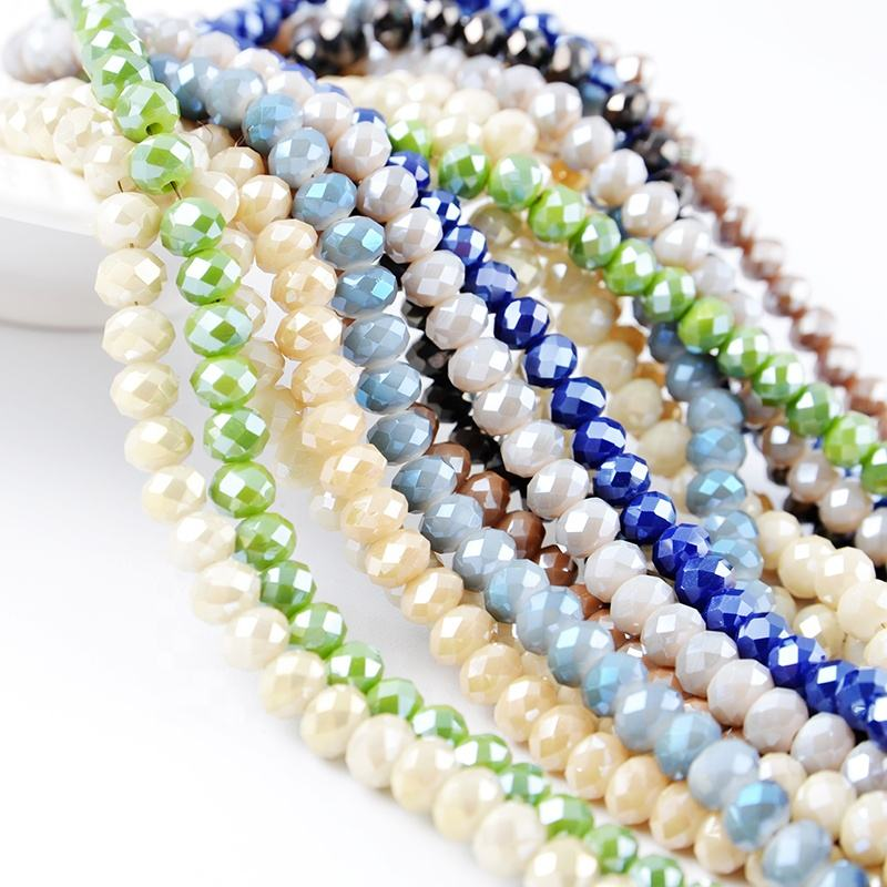 1mm 2mm 4mm 6mm 8mm 10mm All Sizes Rondelle Faceted Glass Crystal Beads