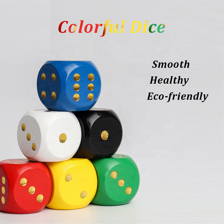 Customize Colorful Common 6 Sides 16mm 20mm Wooden Playing Game Dices Custom Engrave Dice for KTV Entertainment