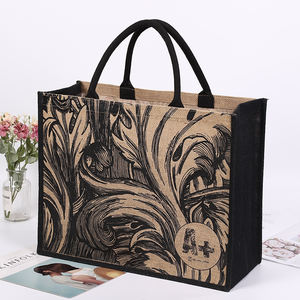 wholesale logo print jute shopping bag hessian burlap tote jute bag