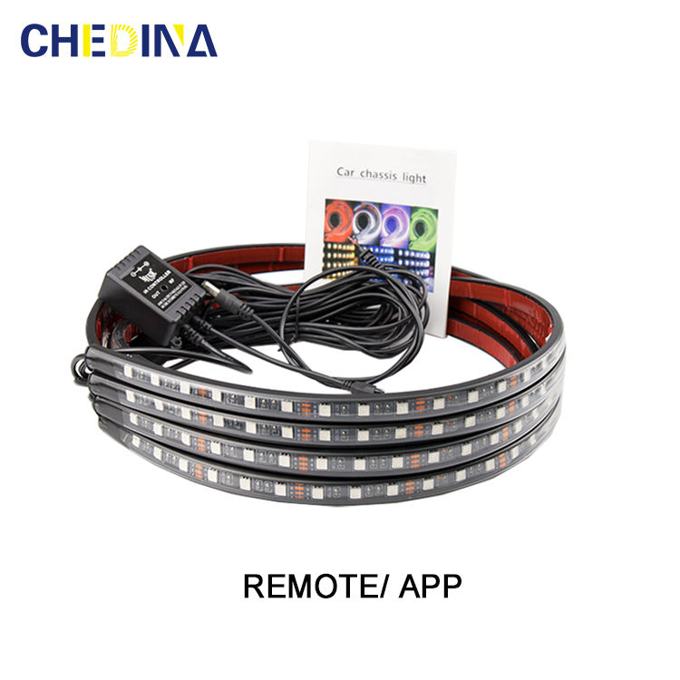 Flexibele Strip Afstandsbediening/App Controle Rgb Decoratieve Sfeer Lamp Underglow <span class=keywords><strong>Underbody</strong></span> System Neon Light Led Underglow Voor Auto