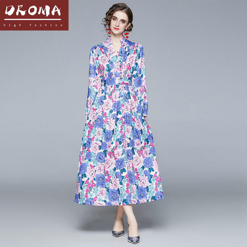 Droma Amazon hot sale vintage fashion clothing printed long sleeve shirt with bow girls maxi dress summer