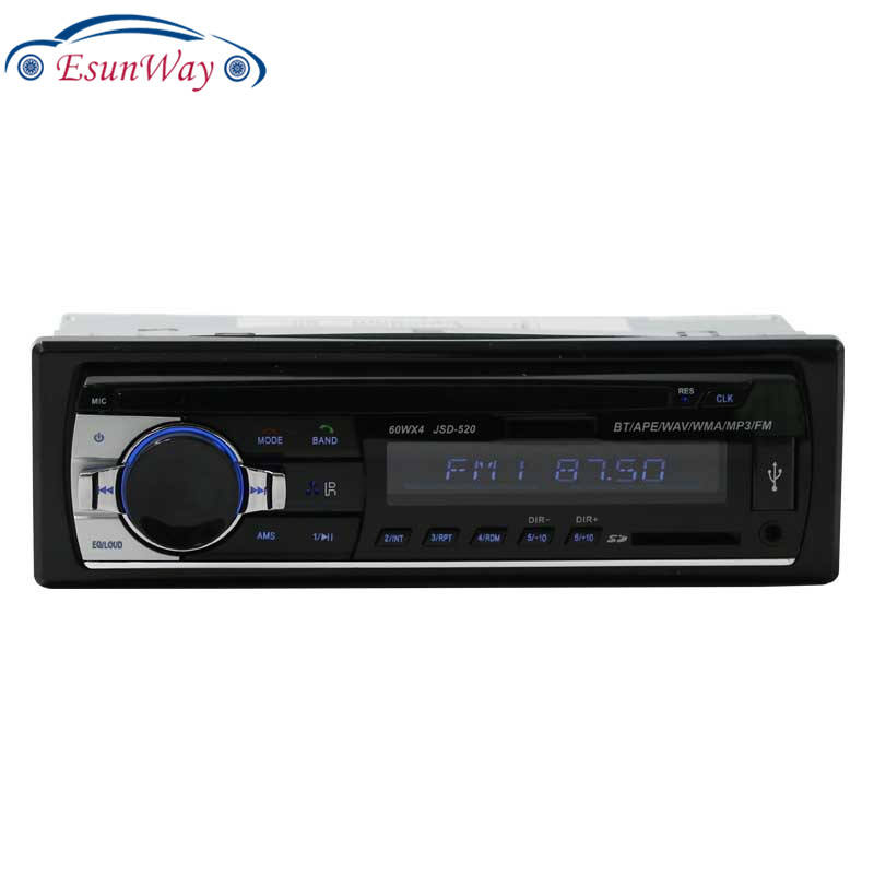 EsunWay Pemutar Stereo Radio Mobil, AUX-IN Telepon <span class=keywords><strong>Bluetooth</strong></span> V2.0 MP3 FM/USB/1 Din/Remote Kontrol 520 Audio Mobil 12V
