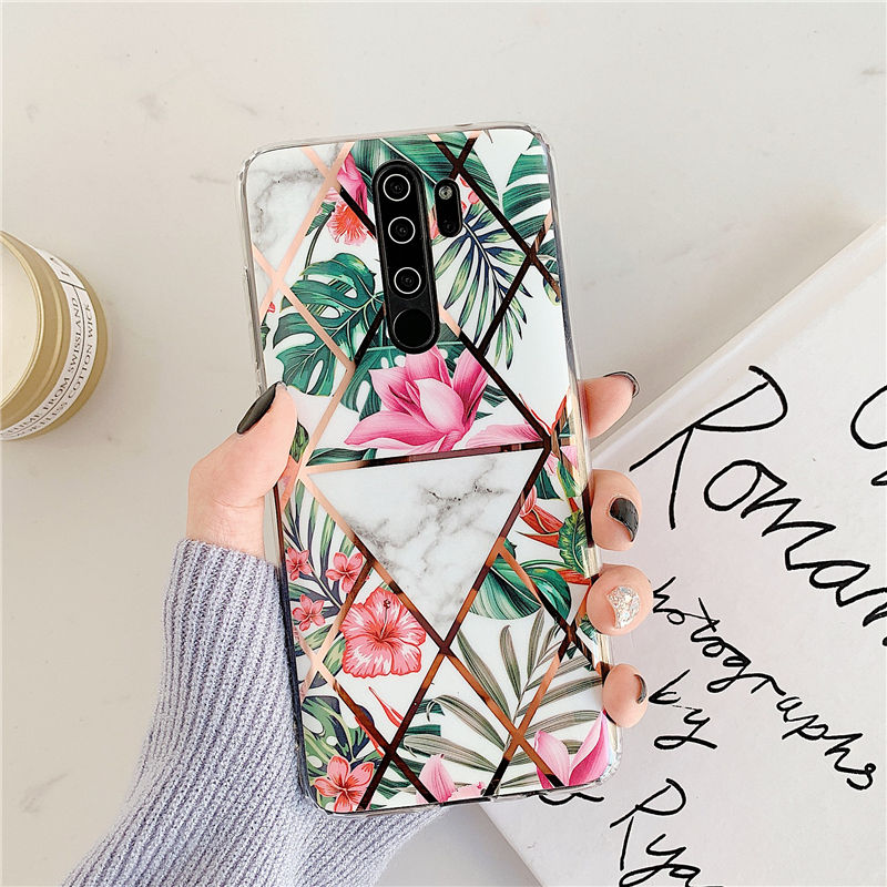 Stylish Floral Gold Palm Leaves Pattern IMD Hybrid TPU Shockproof Flower Phone Cases for Xiaomi Redmi Note 8 pro