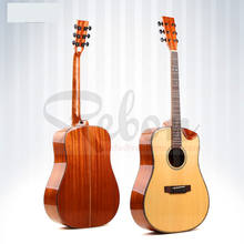 Weifang Rebon 41 Inch All Solid Spruce&Mahogany acoustic guitar With Real Abalone Binding