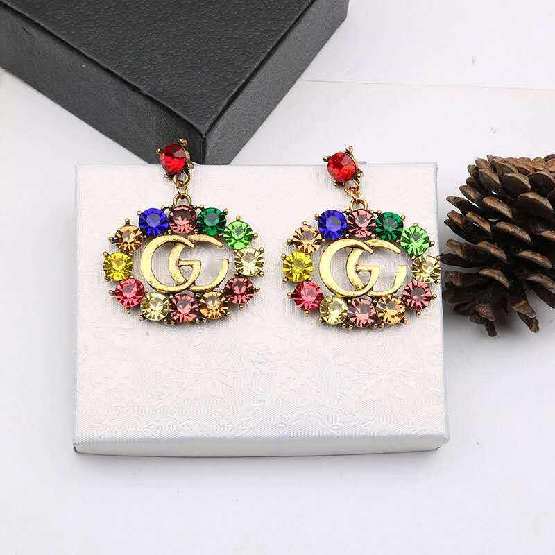 Series Colorful Diamond Zircon Crystal Rhinestone Circle Double G Brand Letter Earrings