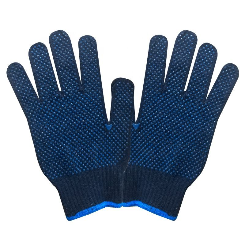 Blue Color Cotton Knitted Double PVC Dotted Slip Resistant Heavy Work Use Labor Gloves