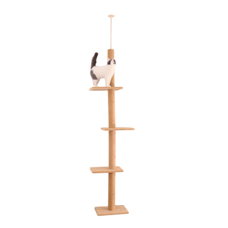 2020 Canton Fair Online Show Multi-level wooden Cat Tree with cat scratching posts