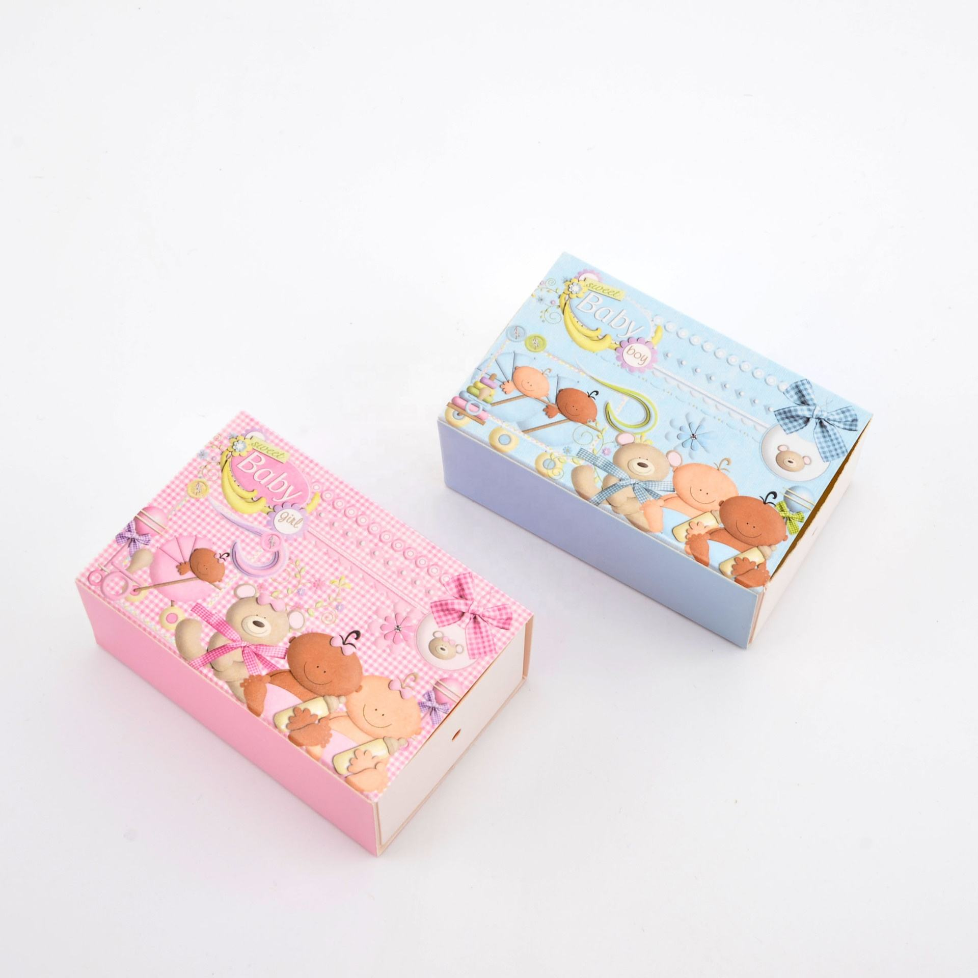 Cartoon Baby Shower Candy Box Kinderen Kid Verjaardagscadeau Box Doopsel Favor Boxes