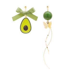 Wholesale Fruit Kids Ear Clip Earrings Avocad Bow Girls Party Clip On Earrings