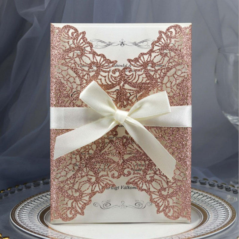 Customized Chinese Wedding Invitation Card Glitter paper Laser Cut Wedding Invitations