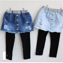 Spring Autumn Girls Leggings Denim Pants Skirts Big Children Thin Pants Girl Patchwork Long Trousers 3-10 Years Kids Clothes