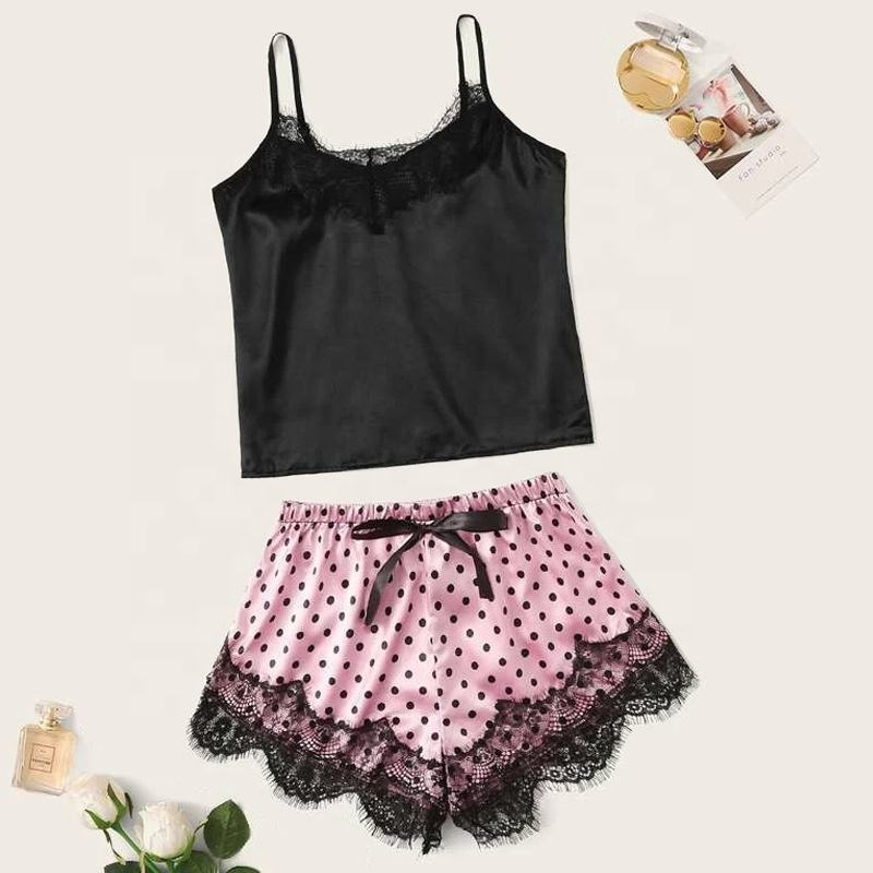 Sexy Lady Lace Satin Sun Top Printed Shorts Suit Two-pieces Pajamas Women Sleepwear